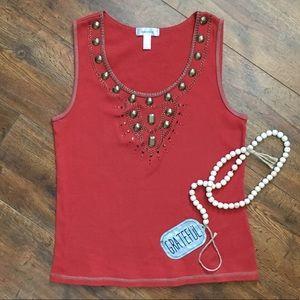Dress Barn Ribbed Tank Rust/Copper Embellishments